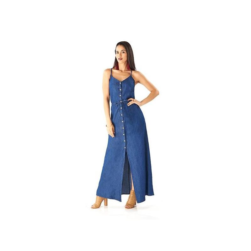 Vestido largo mezclilla con tirantes  015587