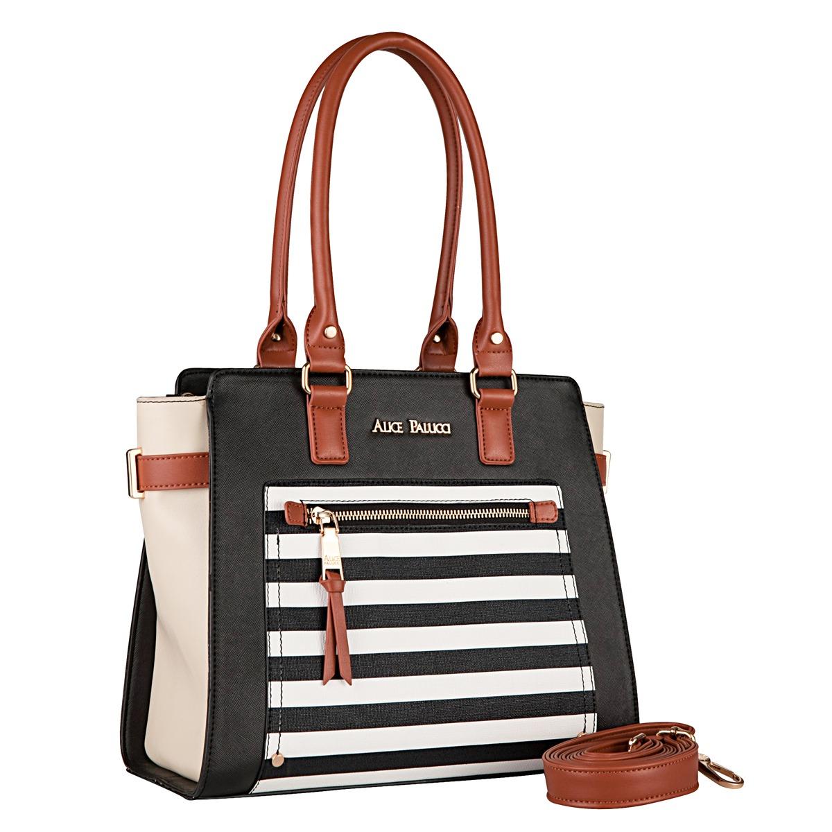 ac70b4093 Bolsa Tote Bag Transversal Navy Alice Palucci AL1902 Preta   boaloja