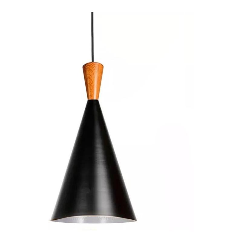 Colgante Cono Beat Tall Estilo Simil Madera Deco Moderno