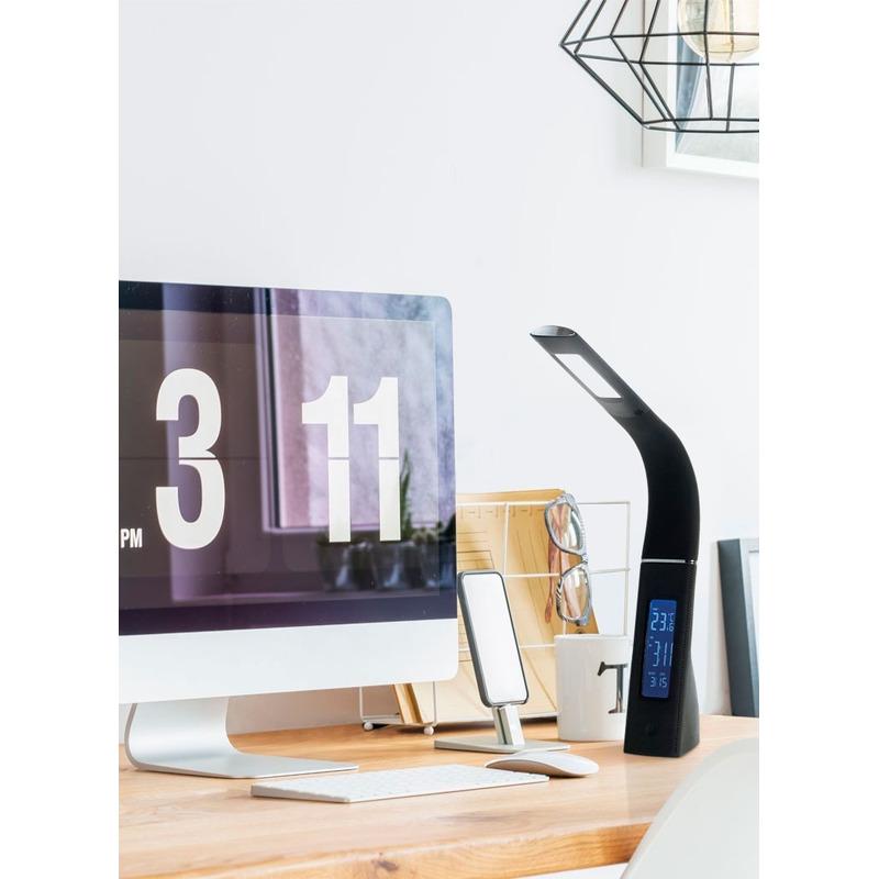 Lampara Escritorio Led Moderna Touch Reloj Dimer Boston Usb