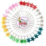 Alfinetes Longo Cabeça Estrela Coloridos - 30 Pçs