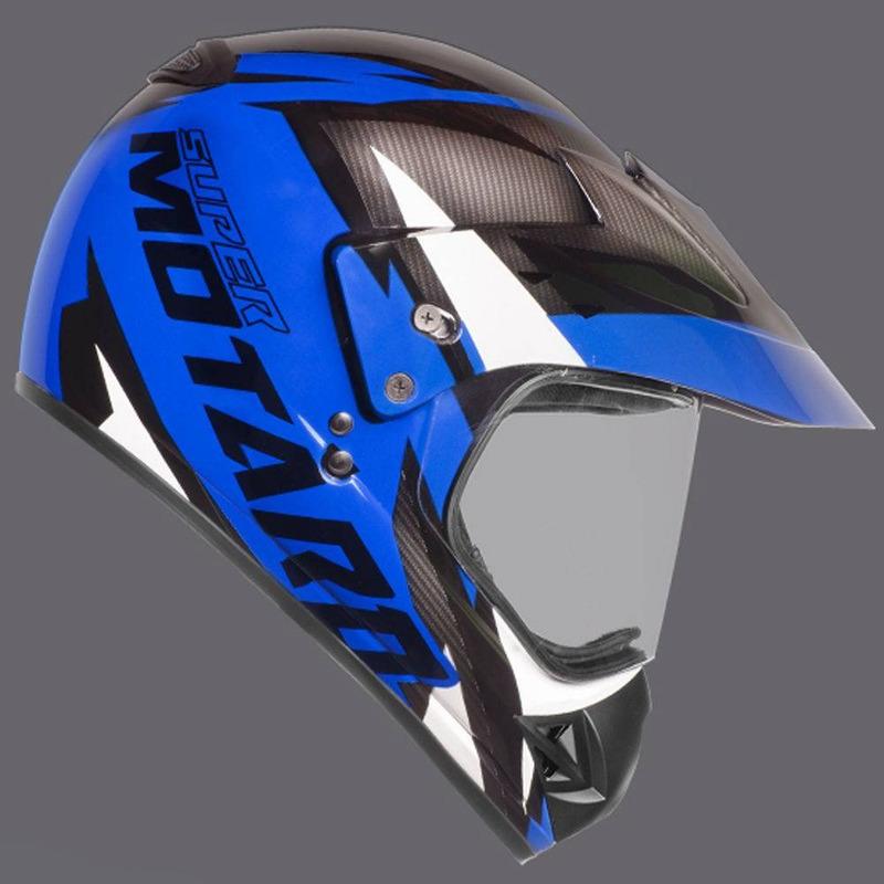 Capacete Ebf Super Motard Iron Preto e Azul
