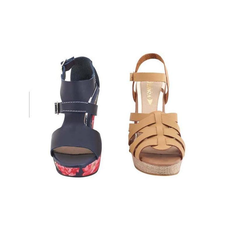 Combo sandalia tacón negro y camel 016059