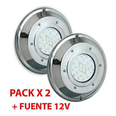 Pack X 2 Subacuatico Pileta Led Rgb Control Con Fuente