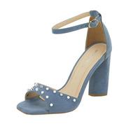 Sandalia De Tacón Azul Con Estoperoles 020393