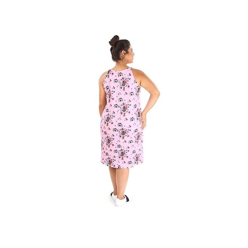 Vestido rosa estampado 014460