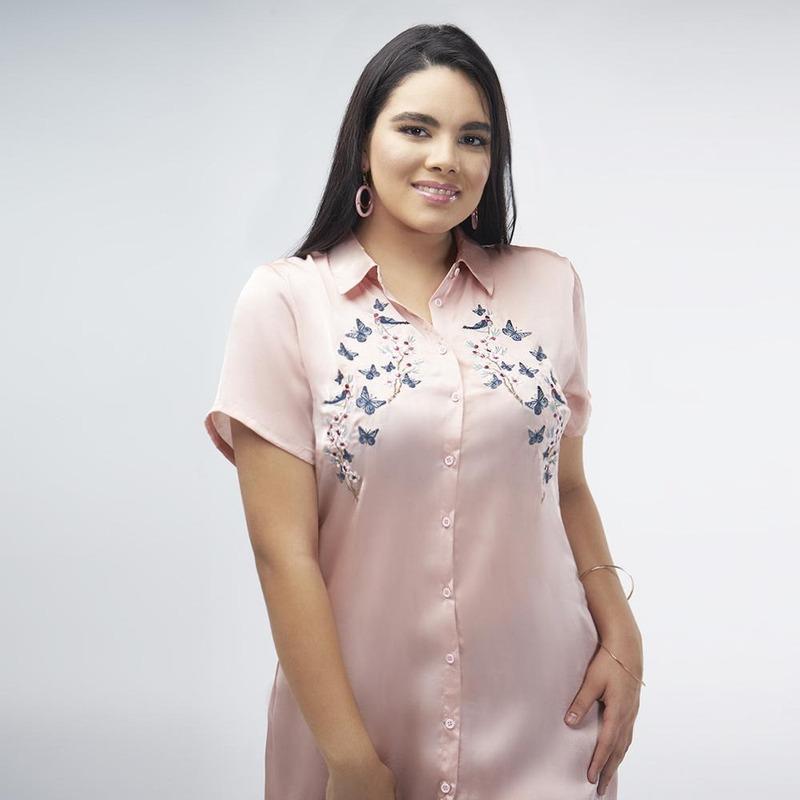 Blusa Rosa Larga De Botones 017109