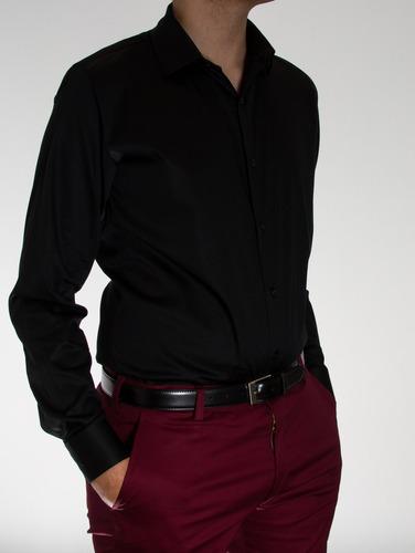 84bbfbbdb2a19 Camisas Entalladas Slim Fit. Algodon Satinado Con Spandex.