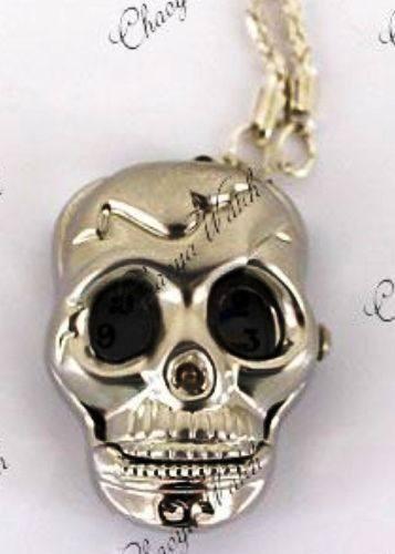 Reloj Colgante Calavera Skull Collar Acero Inoxidable Plata