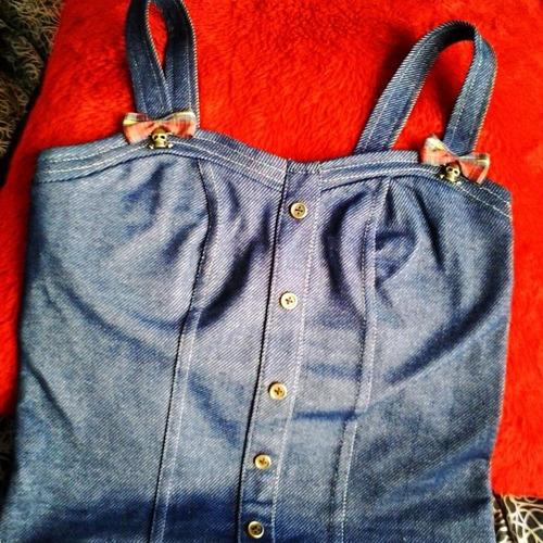 Top Remera Corset Estilo Pin Up Jean Super Entallados
